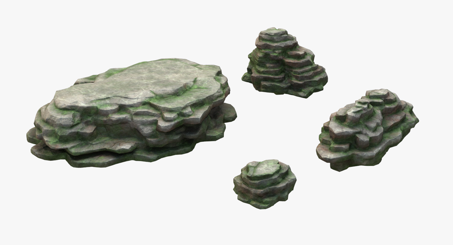 mossy stone mount set 3D model