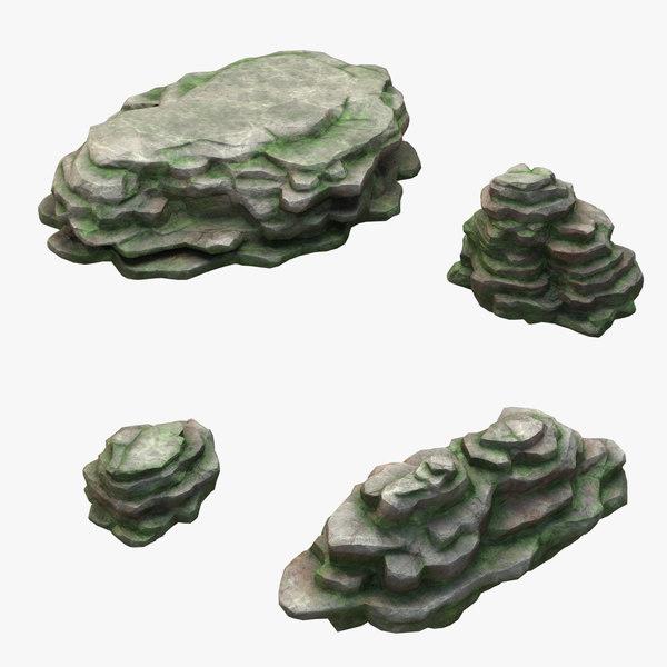 mossy stone mount set 3D model