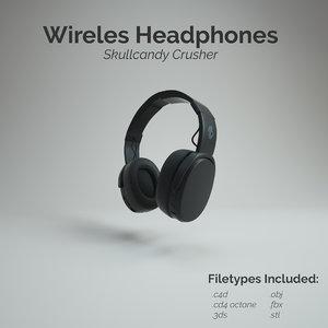 3D model skullcandy crusher wireless headphone