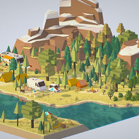 3d model isometric style camping level constructor
