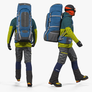 3D man traveler backpack rigged model