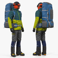 Man Traveler with Backpack Rigged for Cinema 4D 3D Model