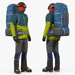 man traveler backpack rigged 3D model