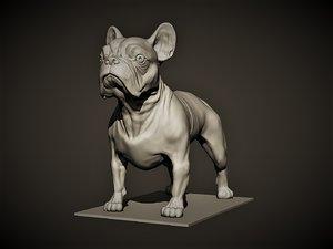 3D stand dog french bulldog