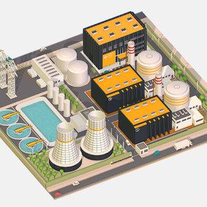 3D isometric power stations model