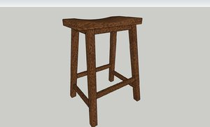 3D hardwood stool