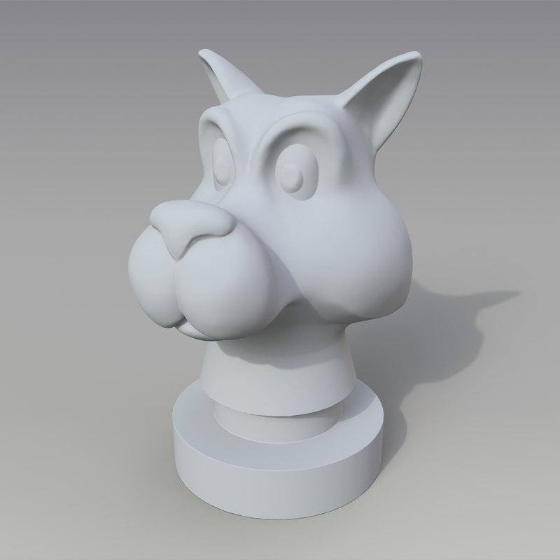 3D statuette wolf head