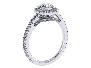 3D cushion halo ring