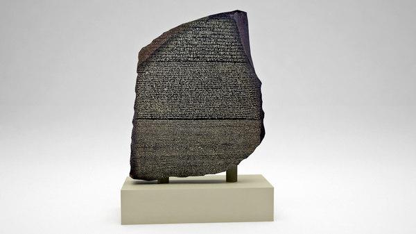 3D egyptian rosetta stone egypt