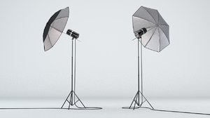 photo studio lighting umbrella 3D