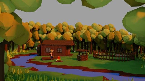 woods cabin model