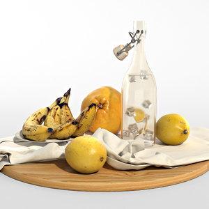 set yellow fruits lemons model