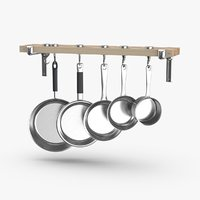 kitchen-pan-rack-03---with-pans 3D
