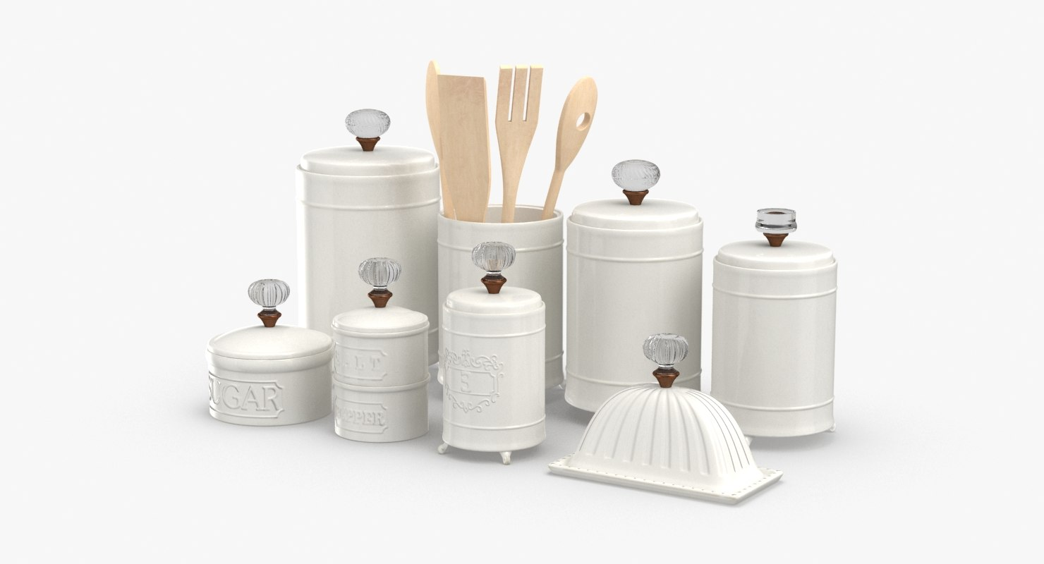 3D model kitchen-decor-set