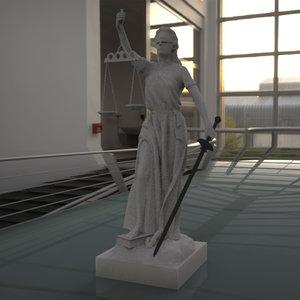 3D justice woman model