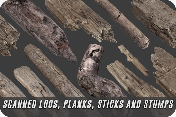 scanned logs planks sticks model