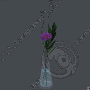 3D gerbera daisy vase