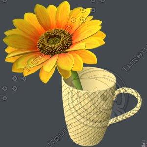 sunflower flower cup 3D model
