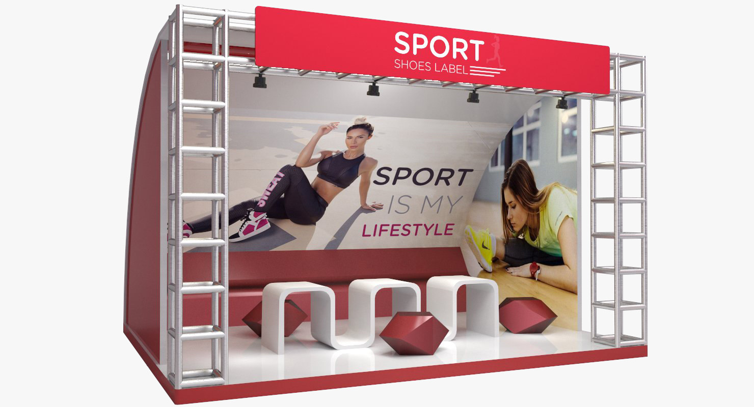 Exhibition Stand Shoes : Qoo exhibition stand showing shelf for sport shoes payment