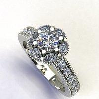 3D flower diamond ring model