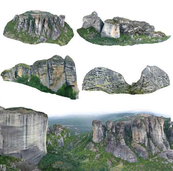 3D model meteora mountains pack 5