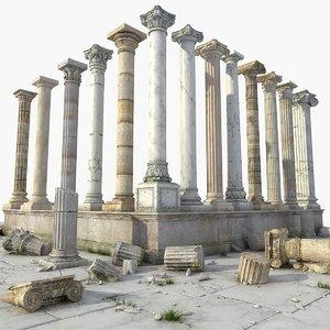 3D ancient columns model