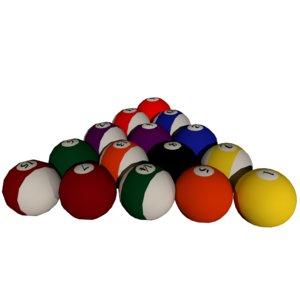3D pool balls set