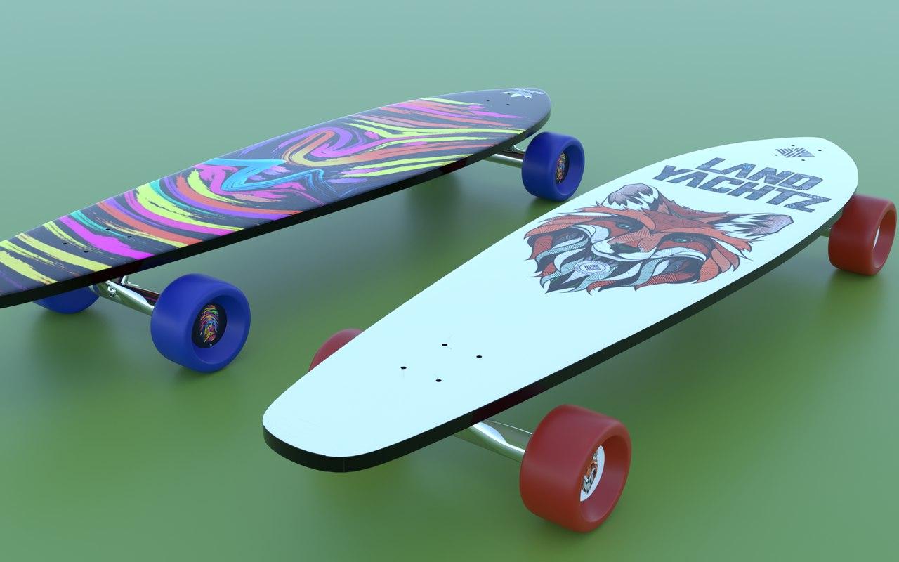 3D realisitc skateboard longboard modeled model