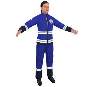 3D model female paramedic