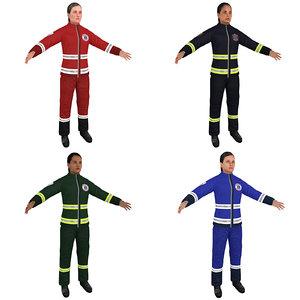 pack female paramedic 3D model