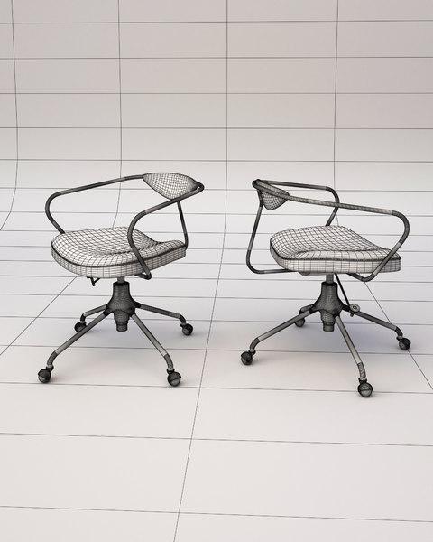 3D akron desk chair seat model