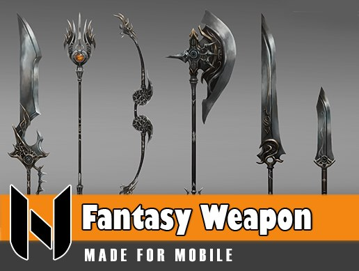 fantasy great weapon set 3D model