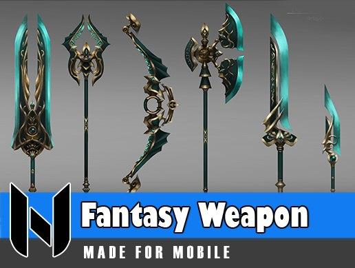 3D fantasy lightning weapon set