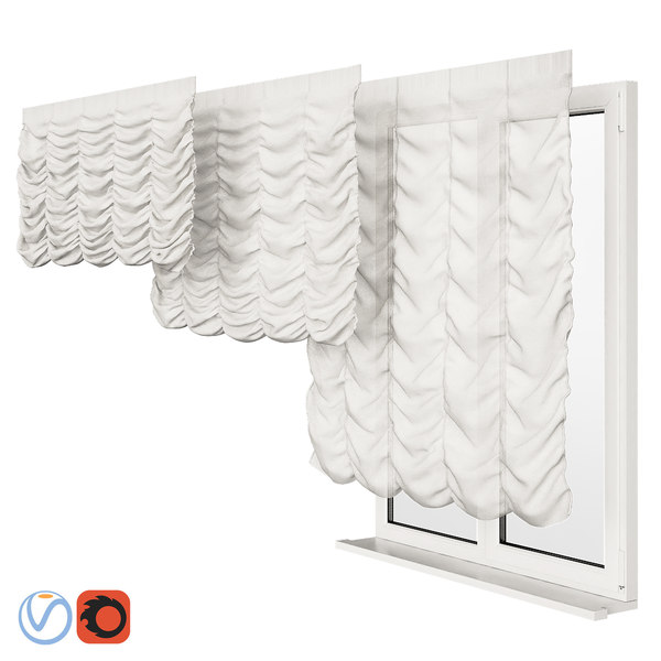 3D roman curtains model
