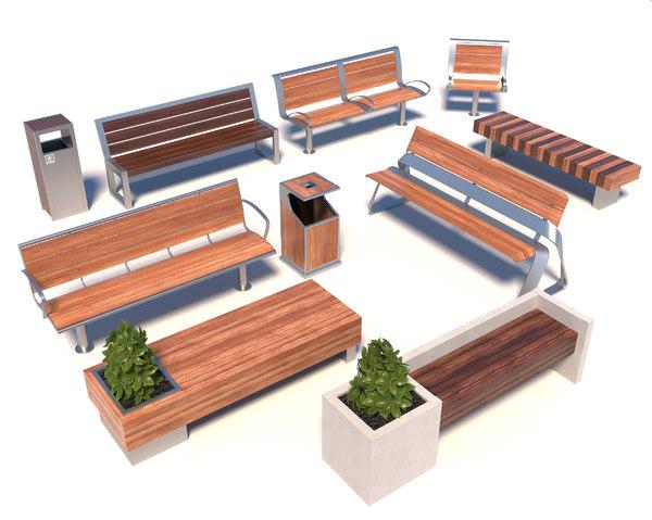 3D street bench modern