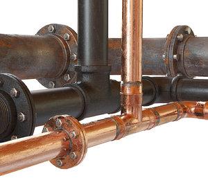 pipes copper metal 3D model