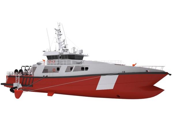 fish farming service vessel 3D