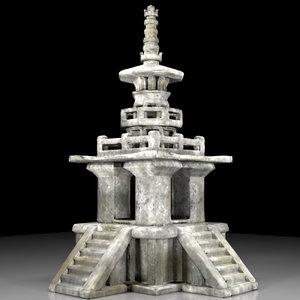 korean stone pagoda 3D model