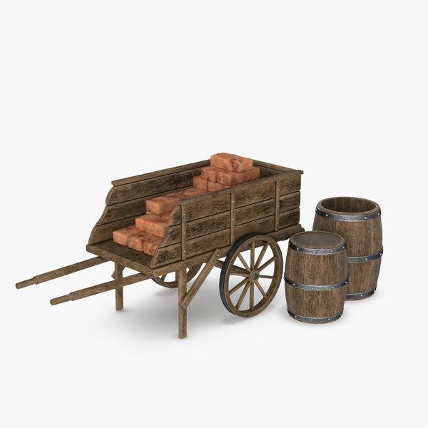 wooden cart barrels 3D