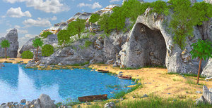 3D model cave fantasy beach