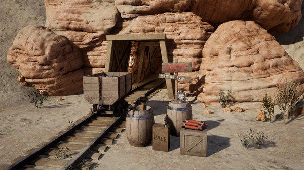 3D desert mining western model