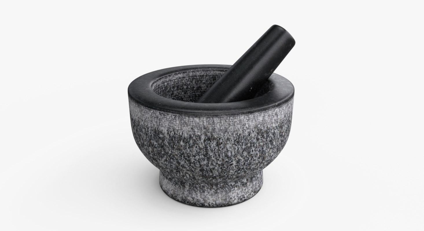 photorealistic mortar pestle ar 3D