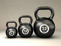 gym kettlebells 3D model