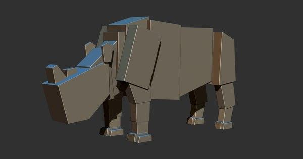 3D boxy rhino rig model