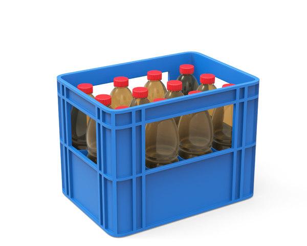 plastic crate bottles 3D model