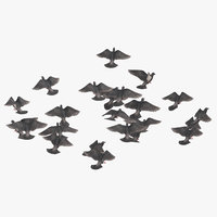 3D flock flying medium 01