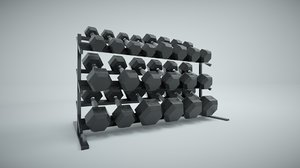 set hex dumbbells rack 3D