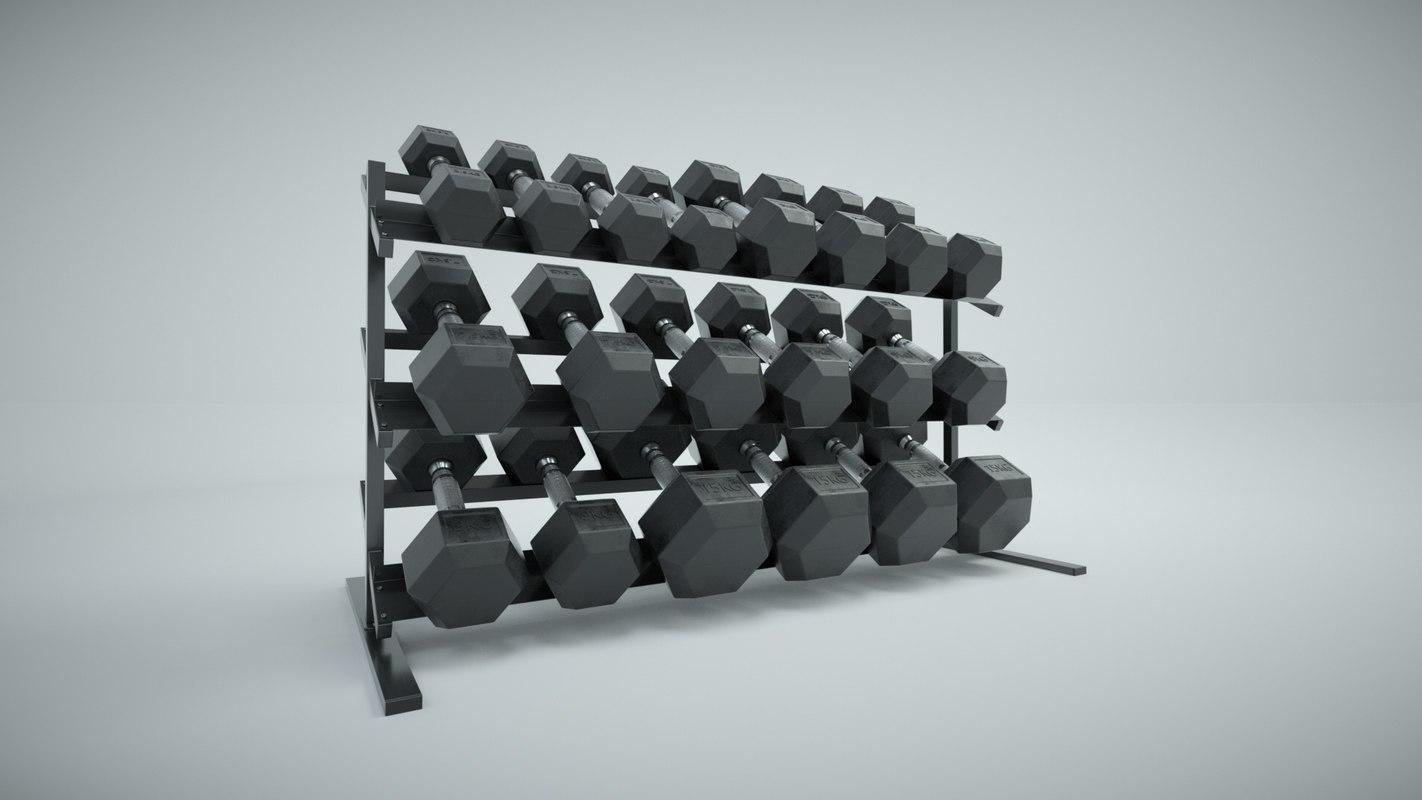 set hex dumbbells rack 3D