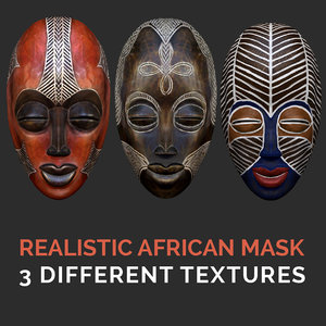 realistic african mask 3D