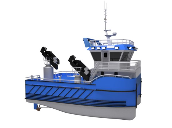 fish farming service boat water 3D model